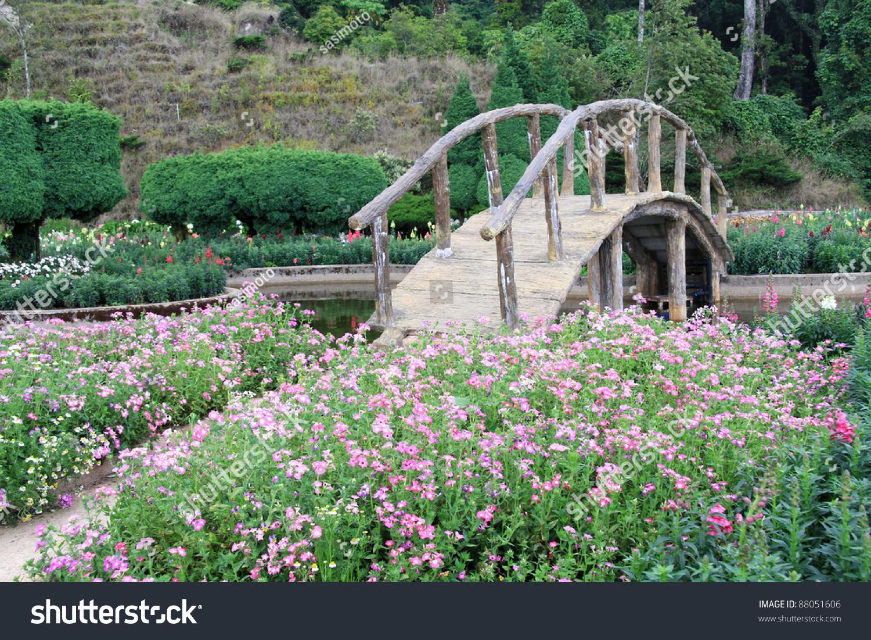 Beautiful garden flowers wooden bridge doi stock photo edit now beautiful garden with flowers and a wooden bridge at doi inthanon national park chiangmai province izmirmasajfo