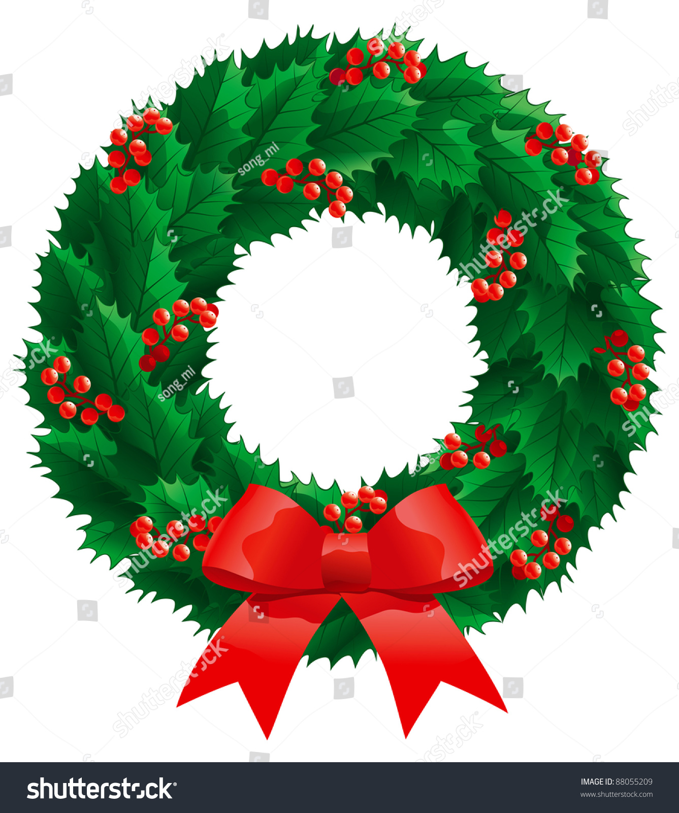 Christmas Holly Wreath Vector Christmas Decoration Stock Vector ...