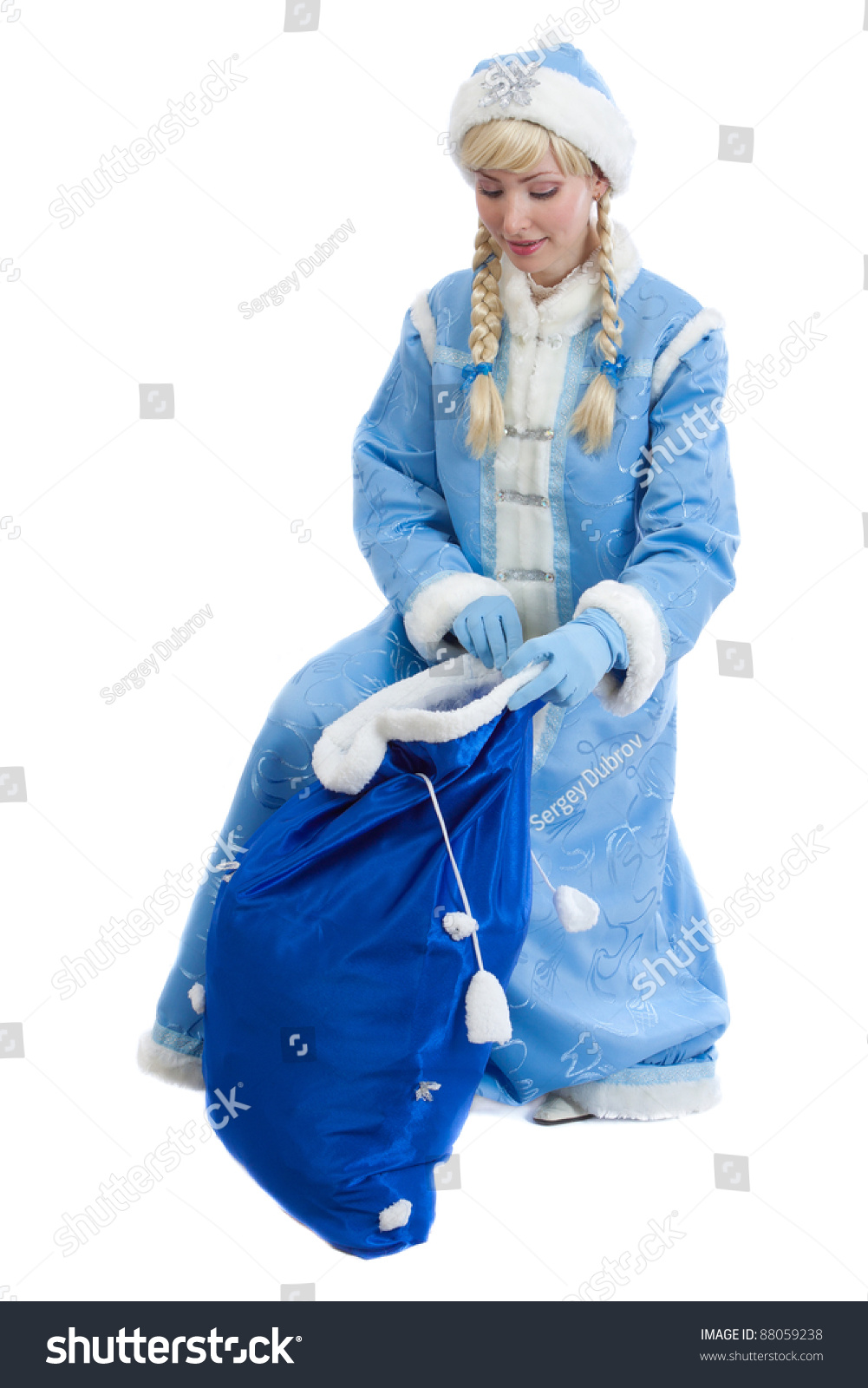 Smiling Girl Dressed In Traditional Russian Christmas Costume Of Snegurochka Snow Maiden Opens Big