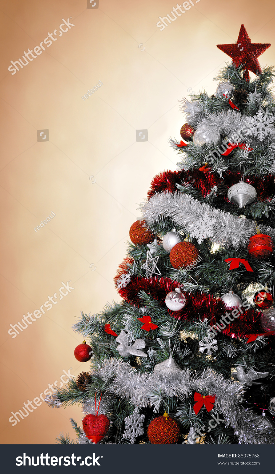 Christmas Tree Studio Shot Silver Red Stock Photo Edit Now 88075768