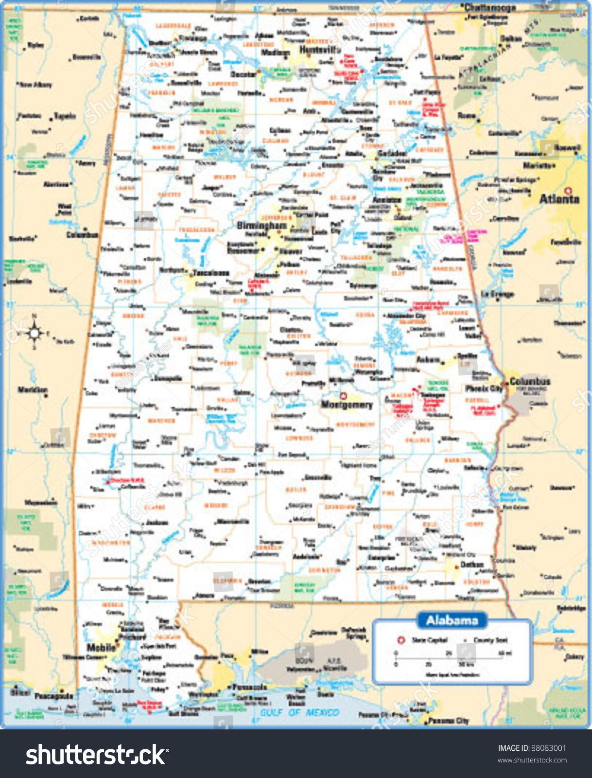 Alabama State Map Stock Vector Shutterstock - Alabama state map