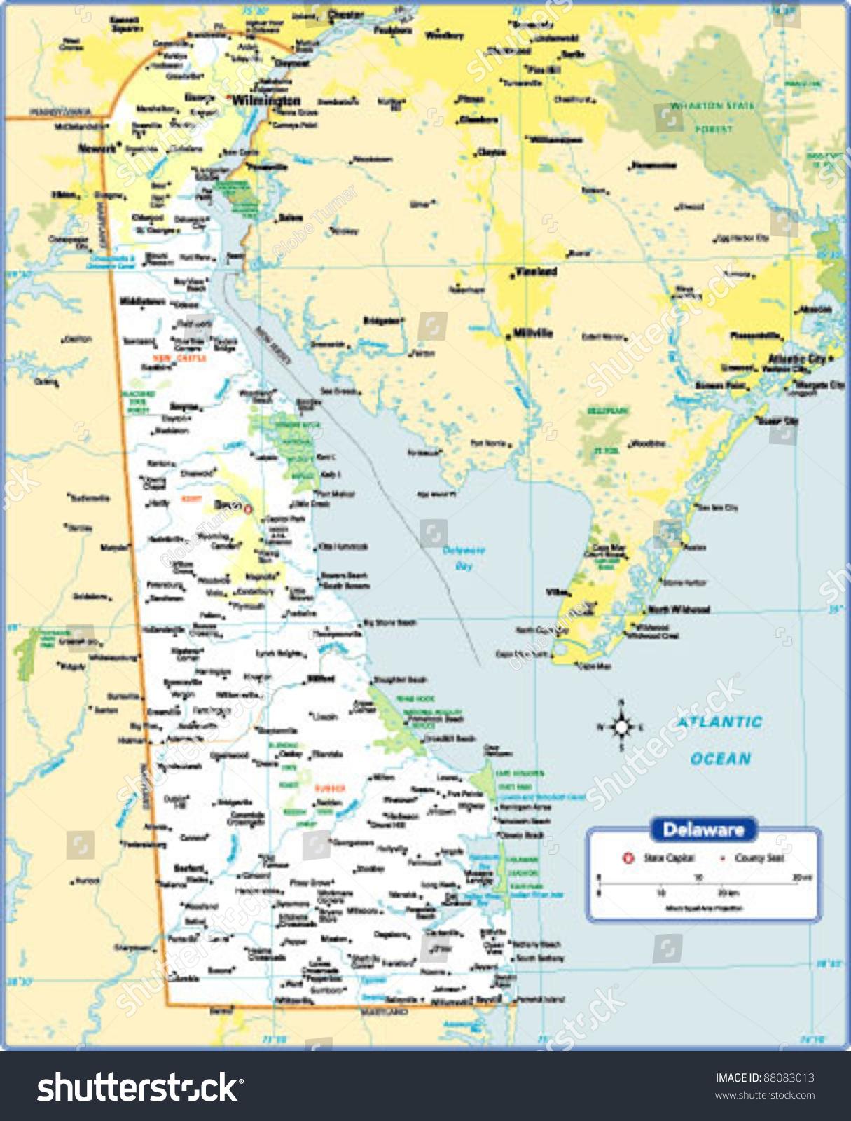Delaware State Map Stock Vector Shutterstock - Delaware state map