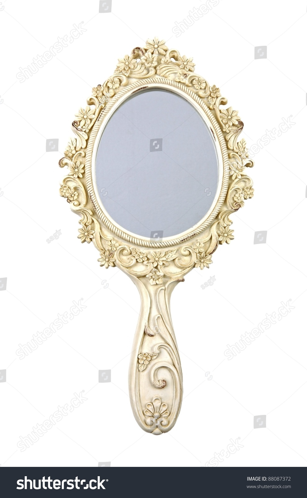 vintage hand mirror isolated on white stock photo 88087372