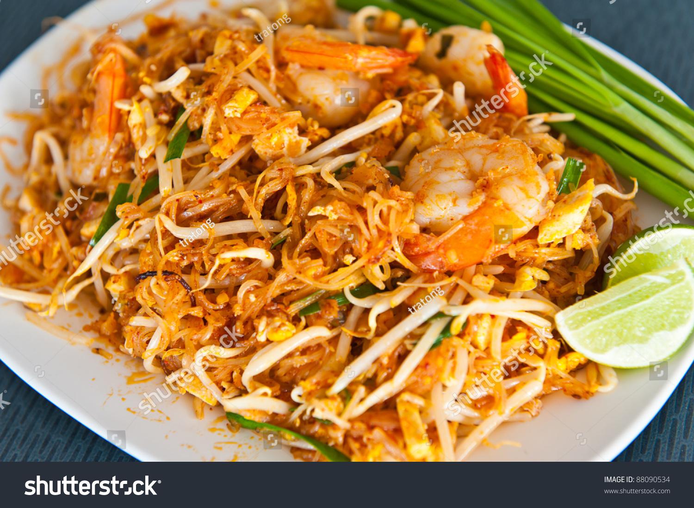 Thai Food Pad Thai , Stir Fry Noodles With Shrimp Stock Photo 88090534 ...