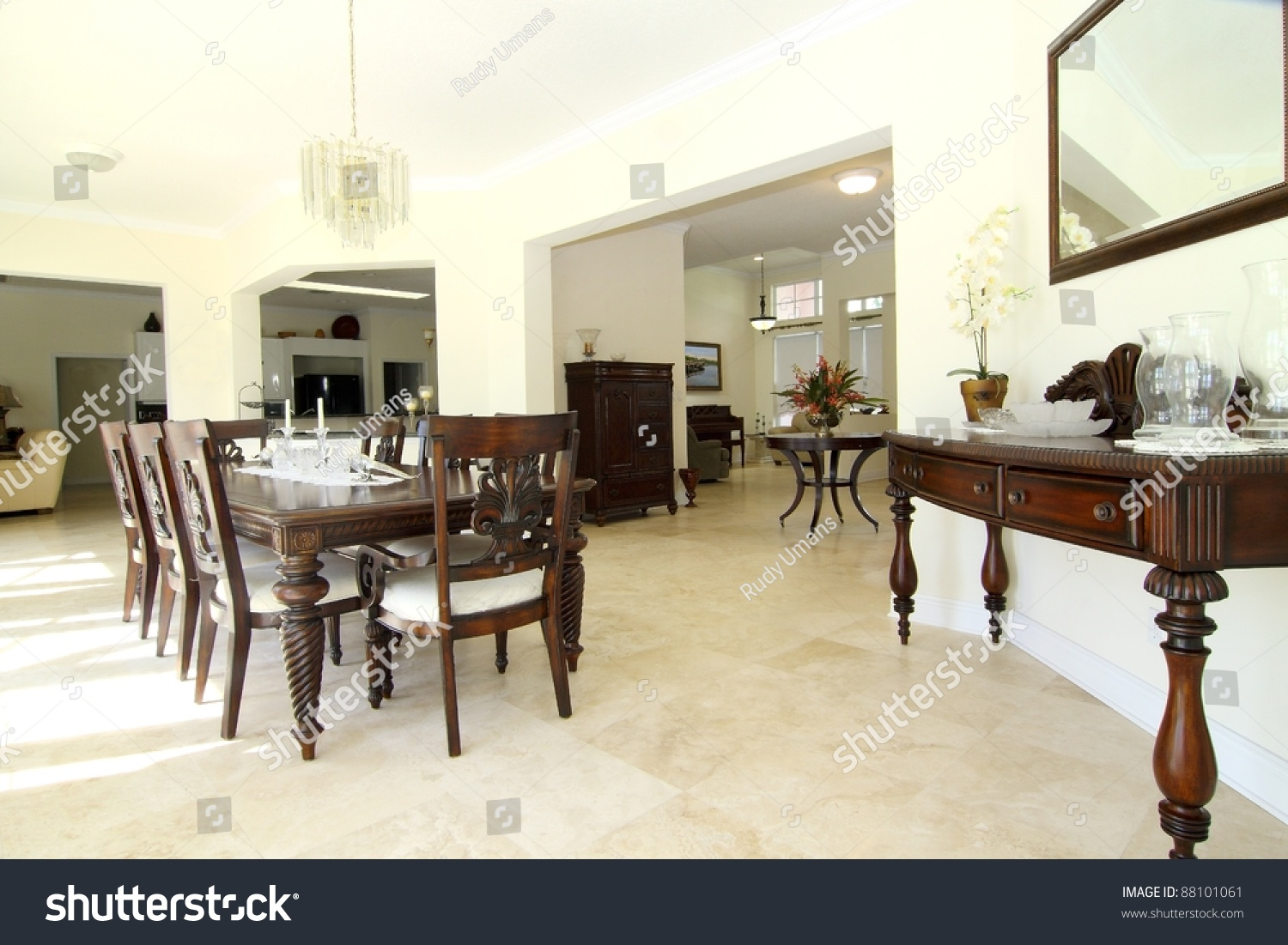Travertine dining room table -  Dining Room With Travertine Floor Preview Save To A Lightbox