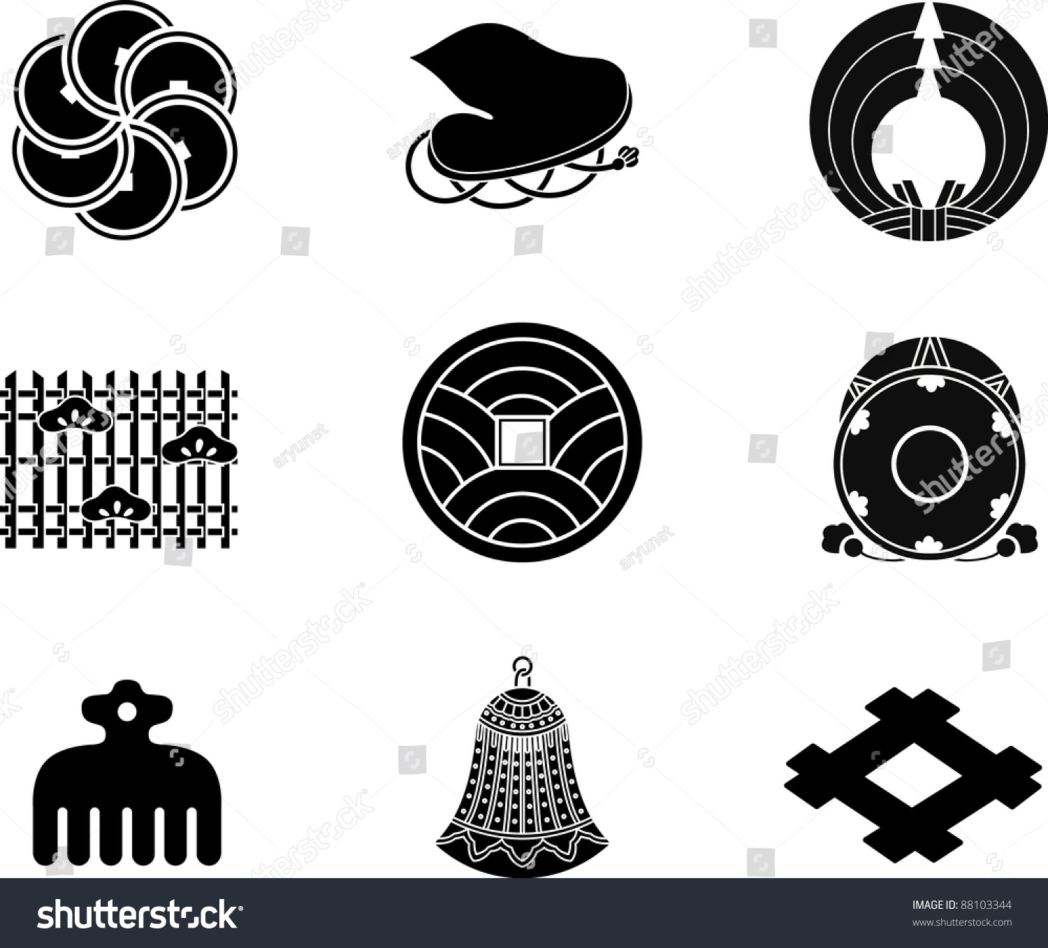Japanese family crests vector stock vector 88103344 shutterstock japanese family crests vector biocorpaavc