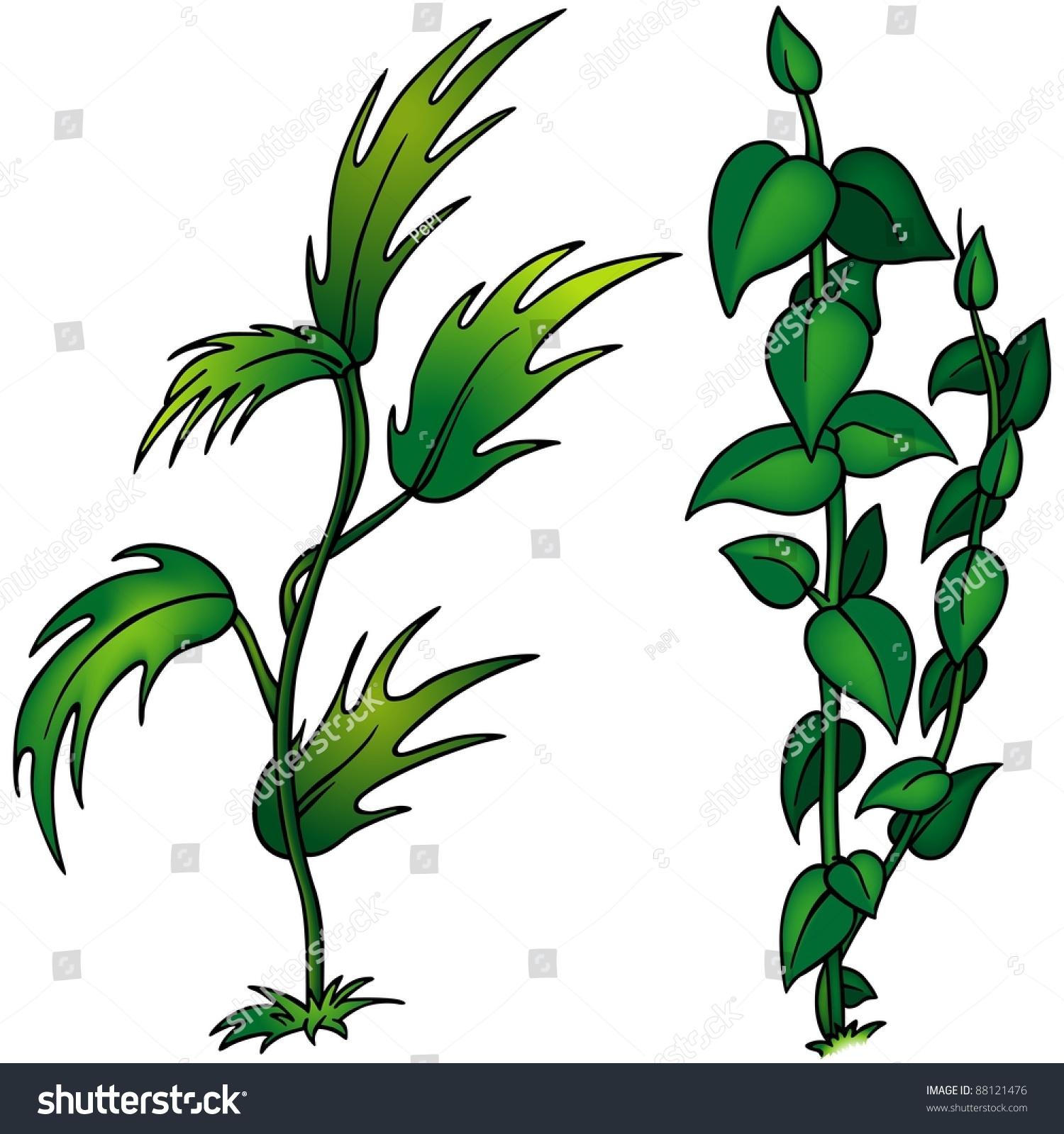 Plants Set Cartoon Illustration Stock Illustration