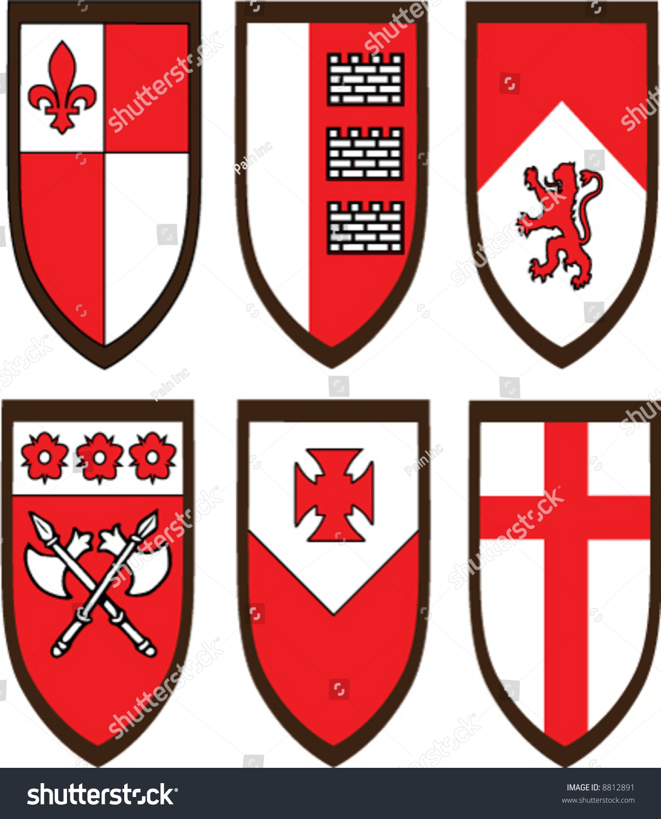Shields Emblems Create Your Own Logo Stock Vector Royalty Free