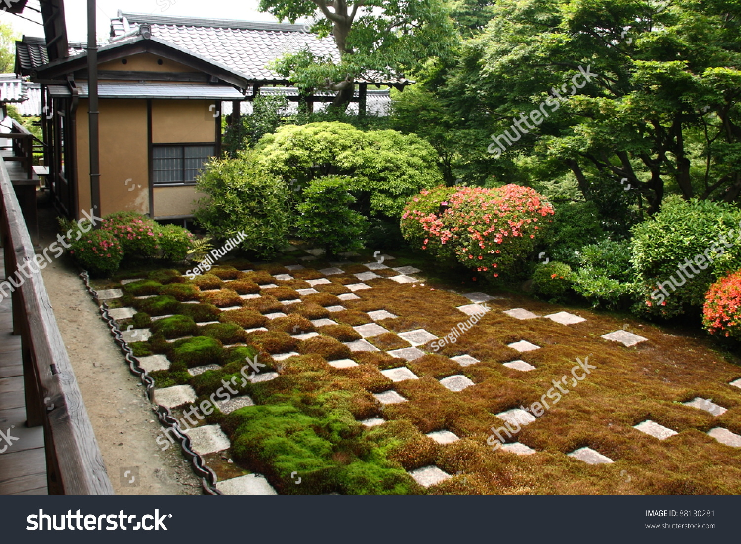 Japanese Zen Garden Square Cutted Stones Stock Photo (Edit Now ...