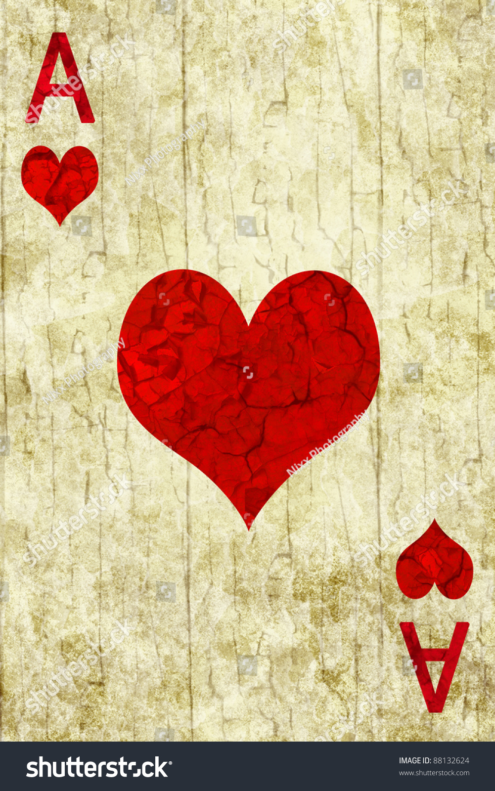 old ace of hearts playing card stock photo 88132624
