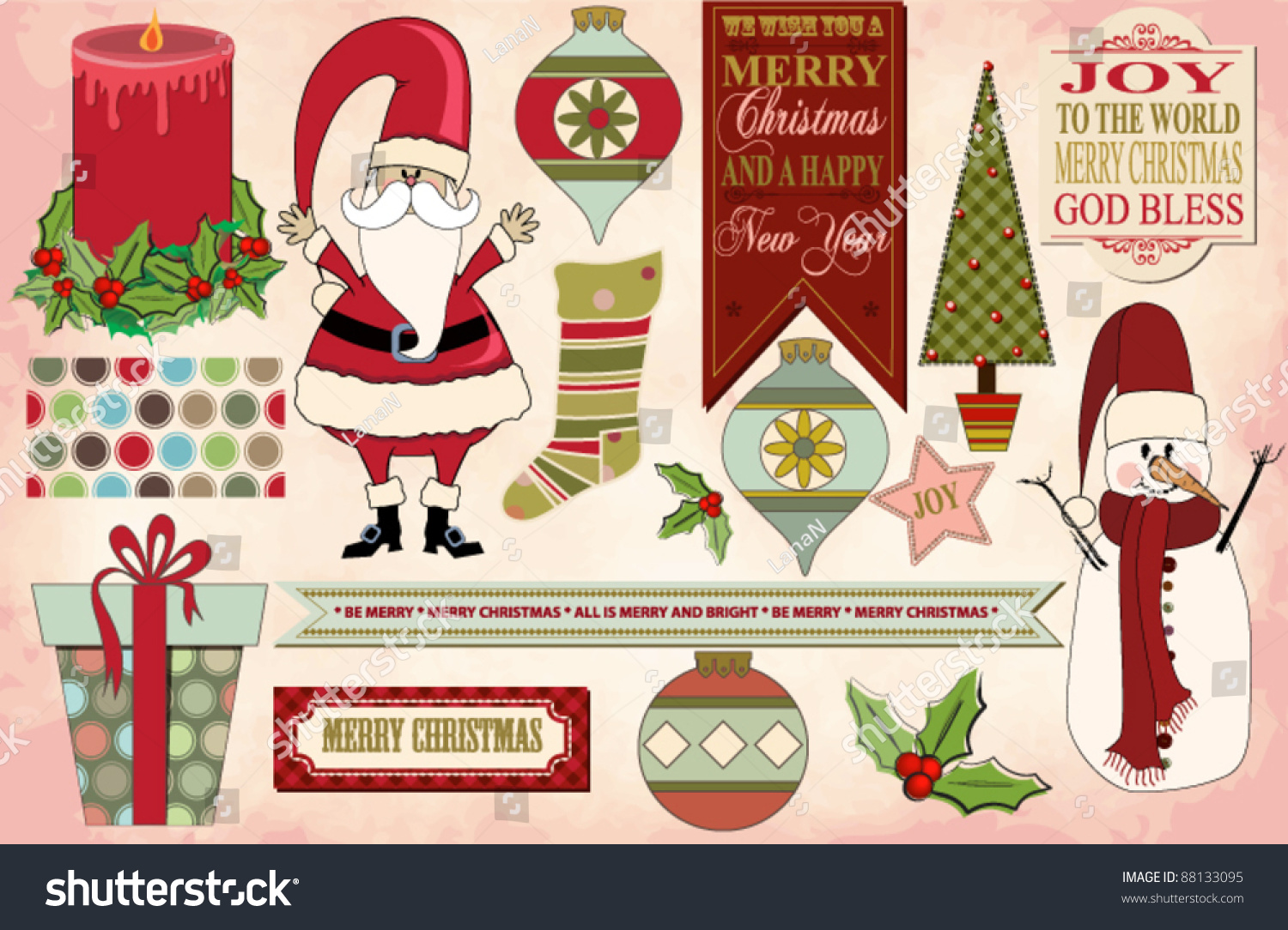 Set Christmas Clip Art Images Banners Stock Vector Royalty Free