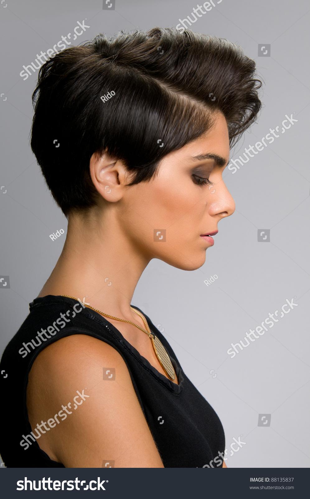 Fashion Model Straight Short Hair Profile Stock Photo