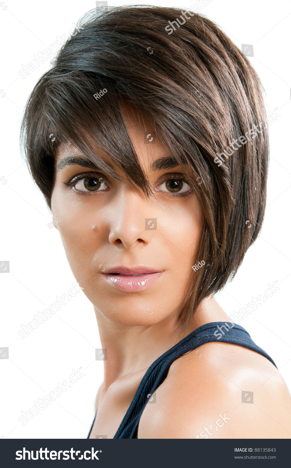 Beautiful Young Woman Straight Short Hair Stock Photo Edit Now