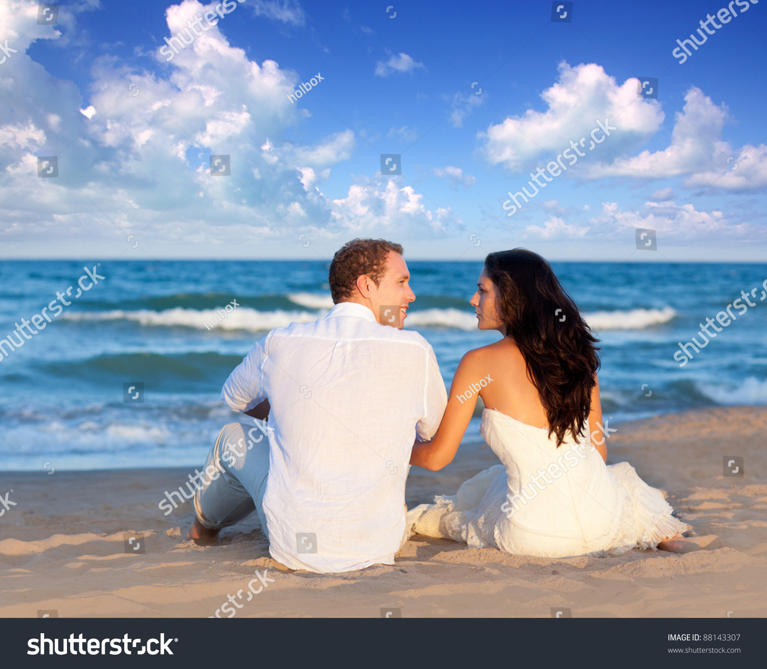 Couple Love Sitting Blue Beach On Stock Photo 88143307