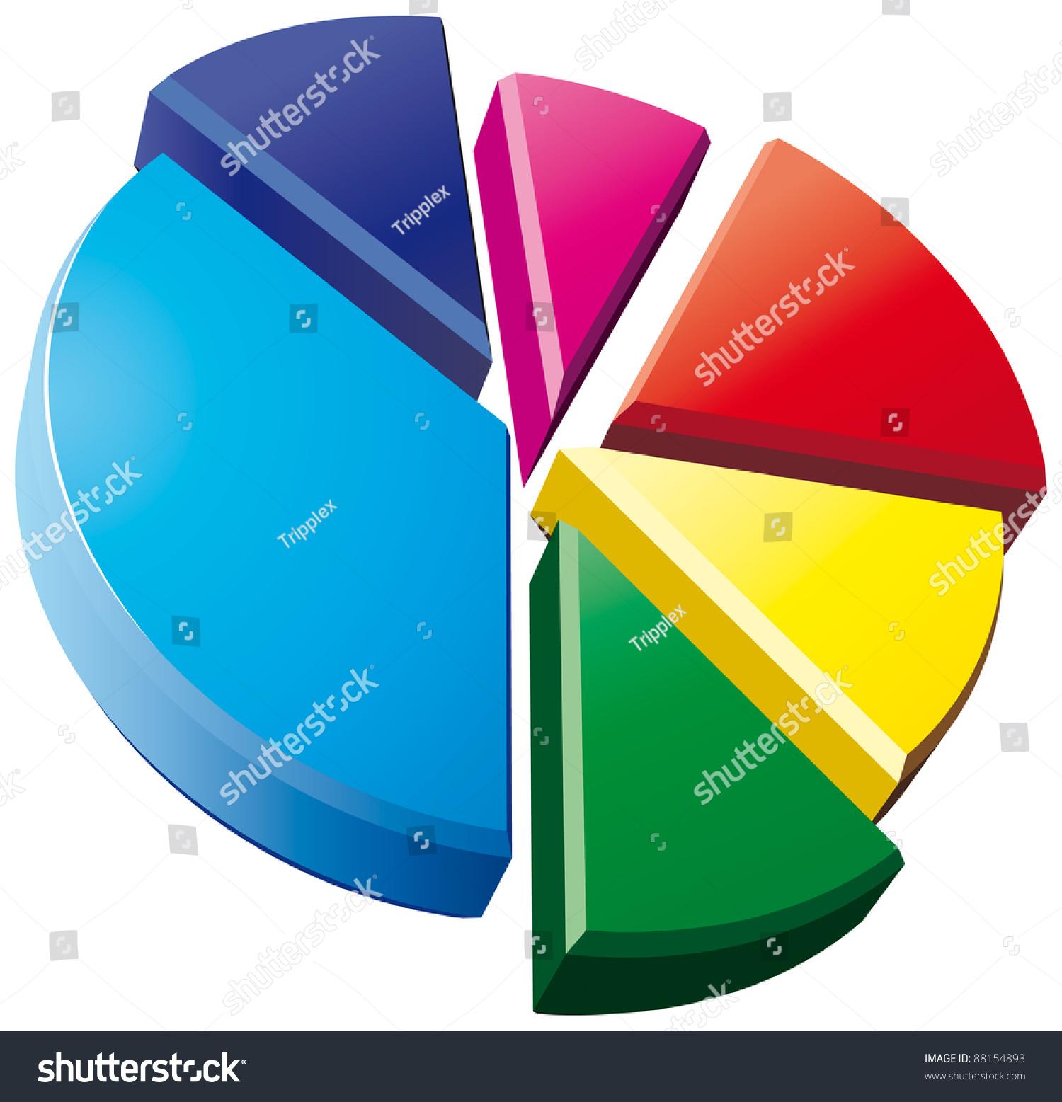 3 D Pie Chart On White Background Stock Illustration 88154893