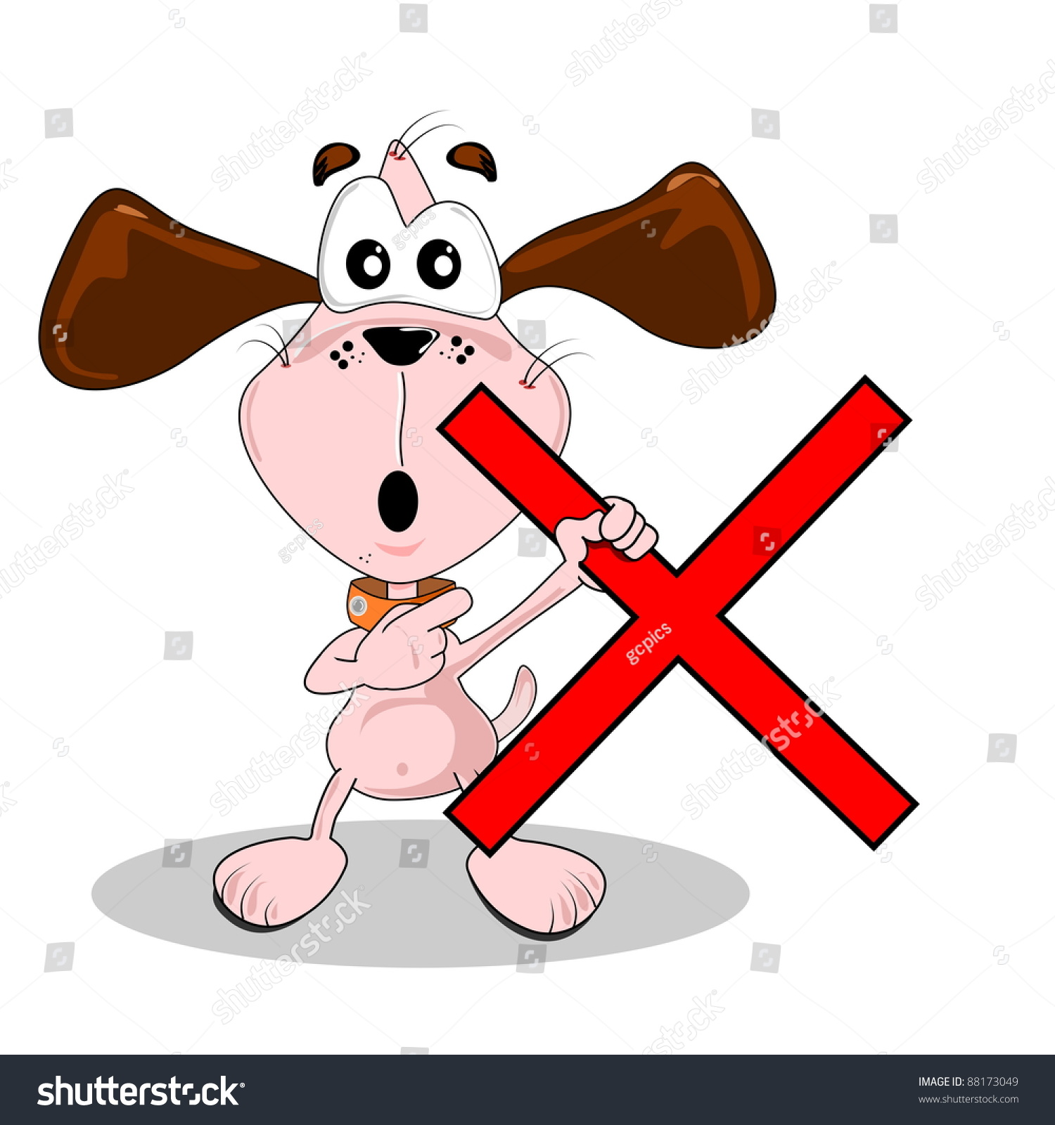A Wrong Red Cross Being Held By A Cartoon Dog Stock Photo