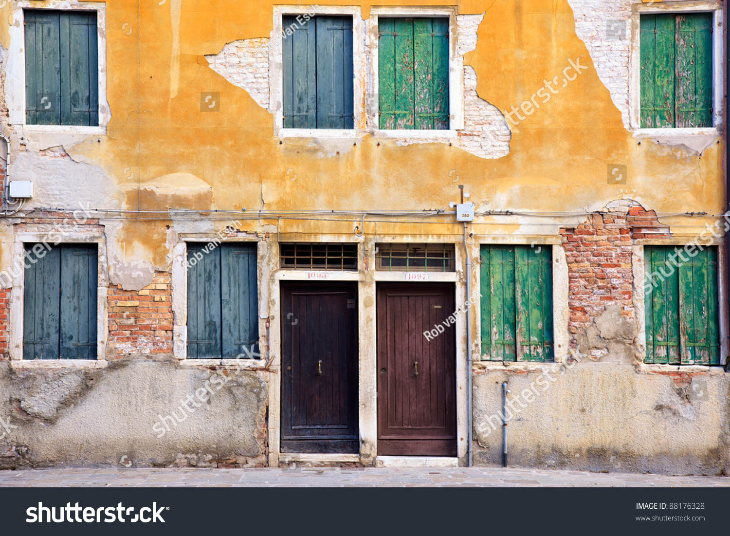 Typical Image Exterior Row Houses Venice Stock Photo