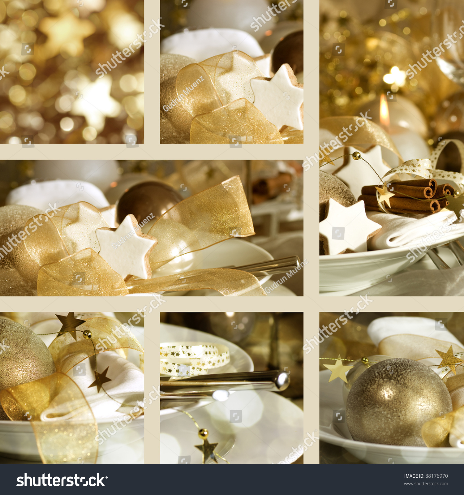 Swell Collage Fine Christmas Table Decorations Stock Photo Edit Download Free Architecture Designs Scobabritishbridgeorg