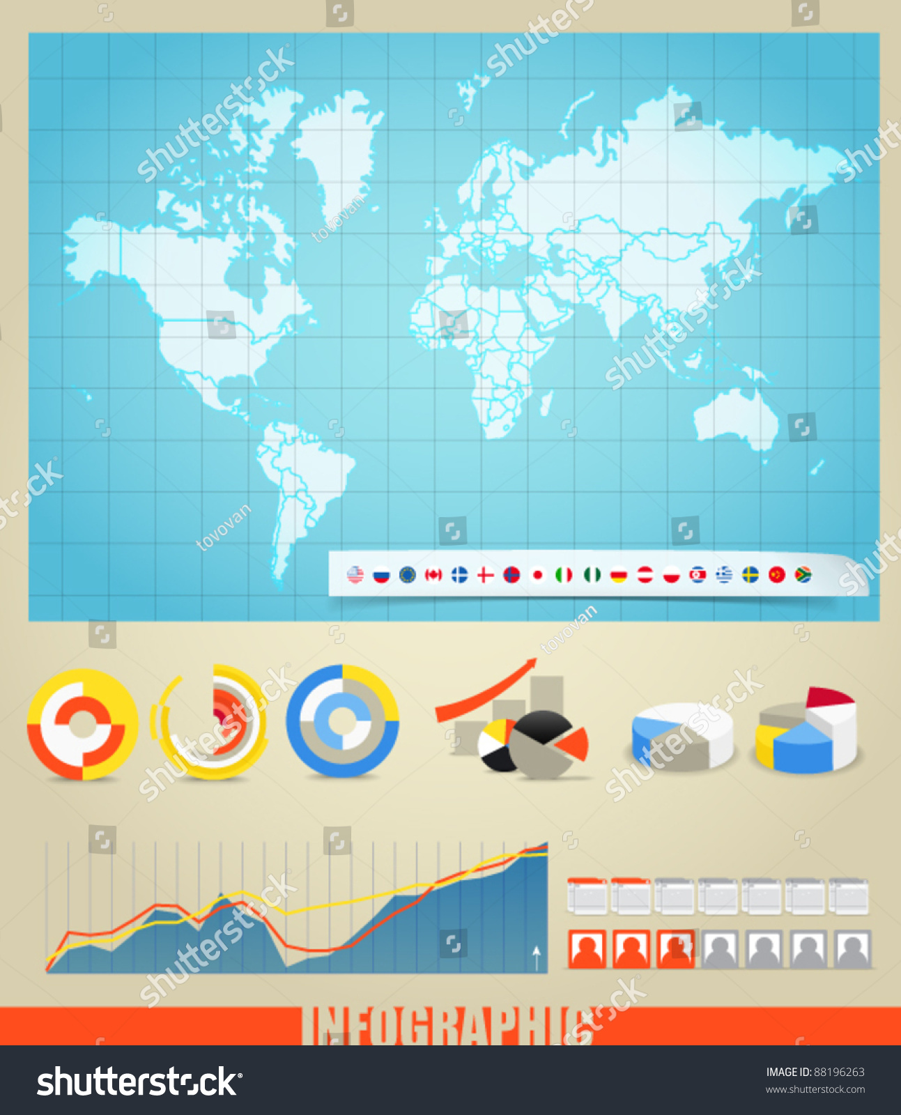 Infographics world map flags different countries stock photo photo world map flags of different countries and diagrams you can select any gumiabroncs Images