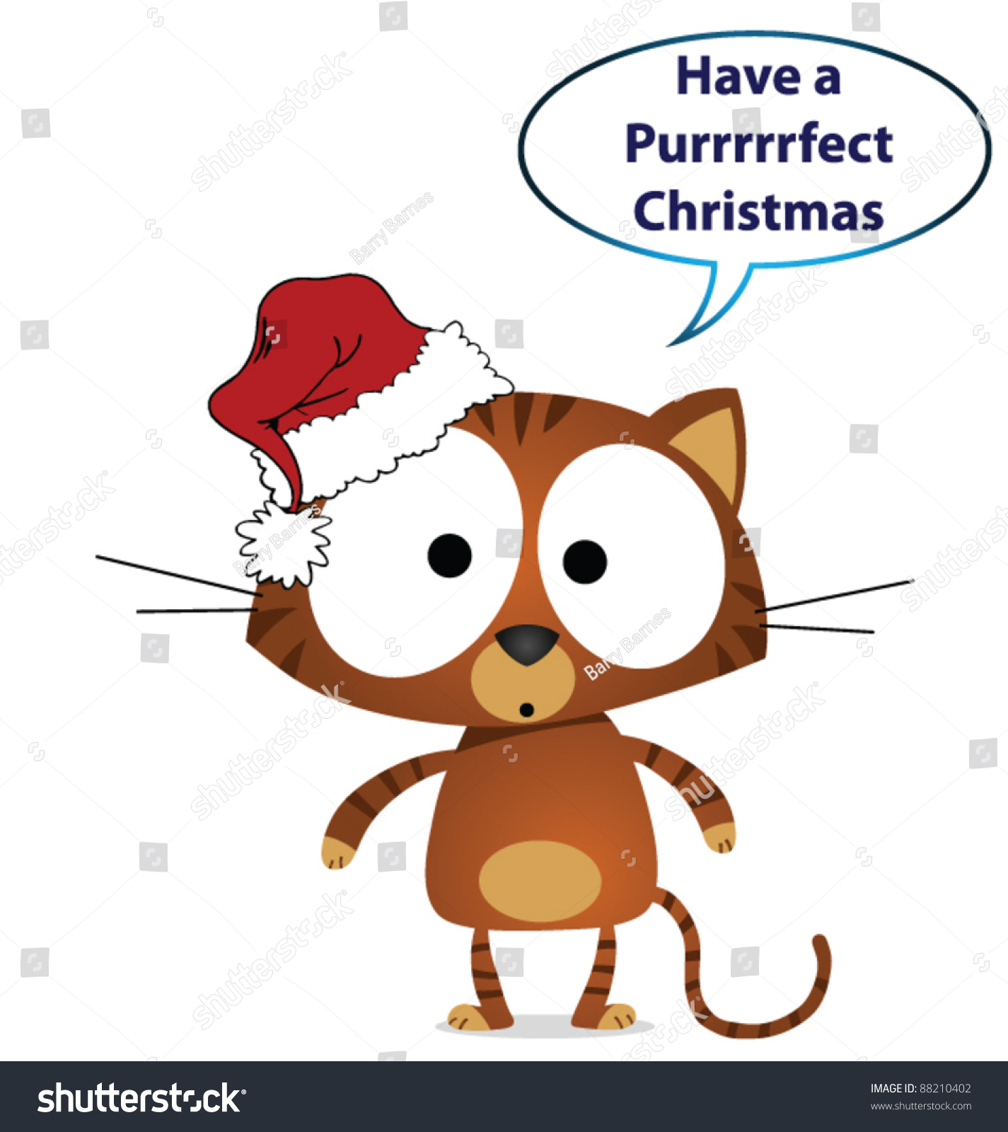 Cat Have Perfect Christmas Message Stock Vector (Royalty Free ...