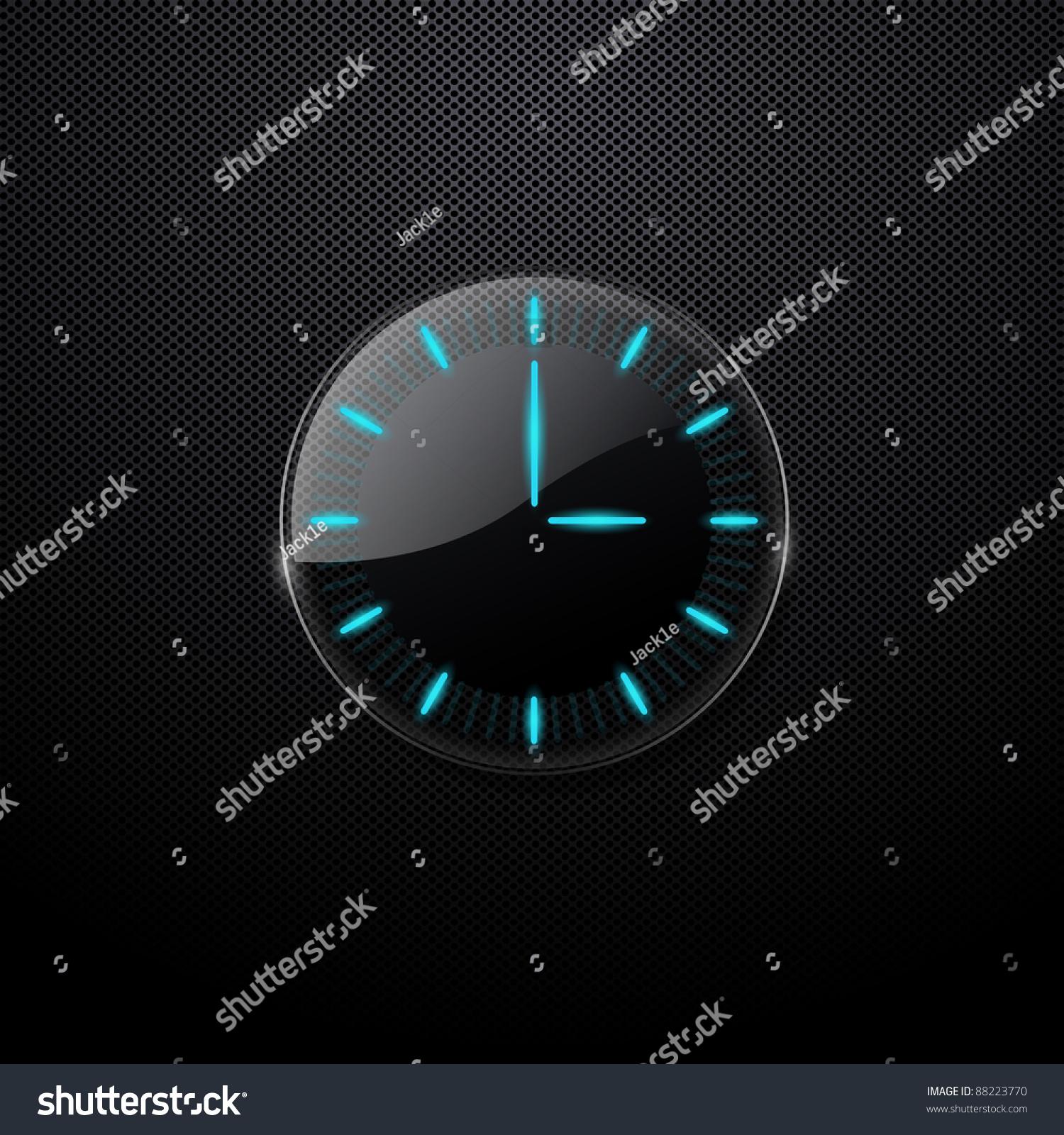 Futuristic Clock Futuristic Glass Clock On Black Background Stock Vector 88223770