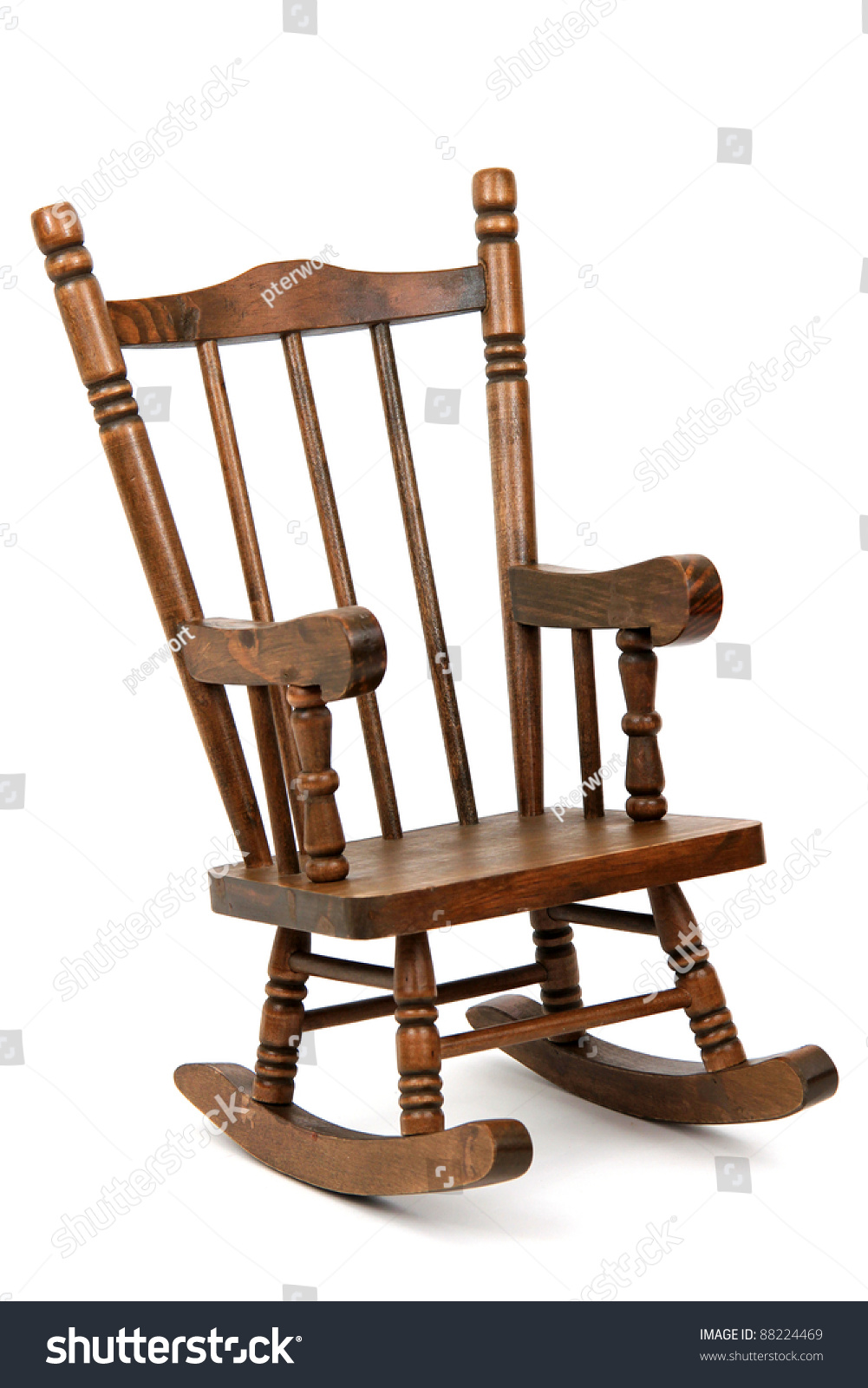 Old wood rocking chair - Old Wooden Rocking Chair On White Background