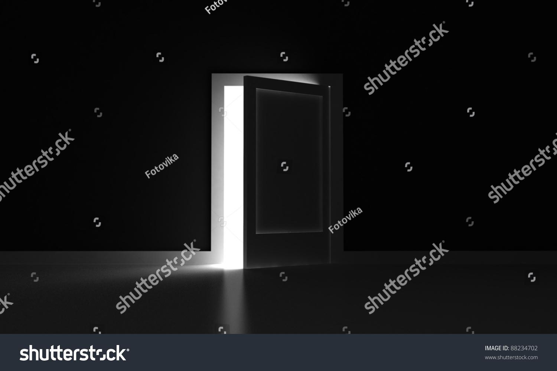 Dark room with light through door - Open Door In A Dark Room With Light Outside