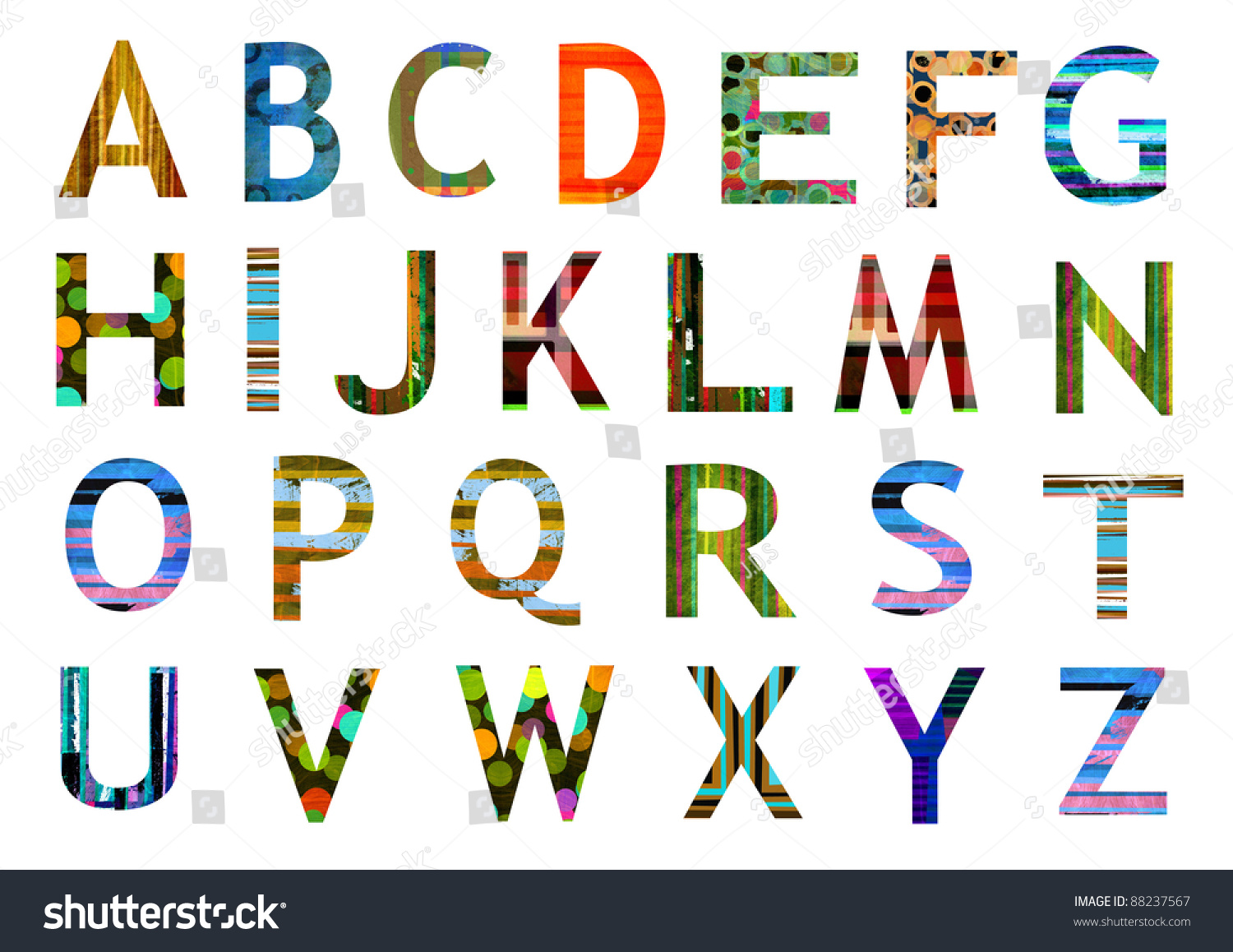 Original alphabet letters collection various colorful stock illustration 88237567 shutterstock - Lettre alphabet original ...