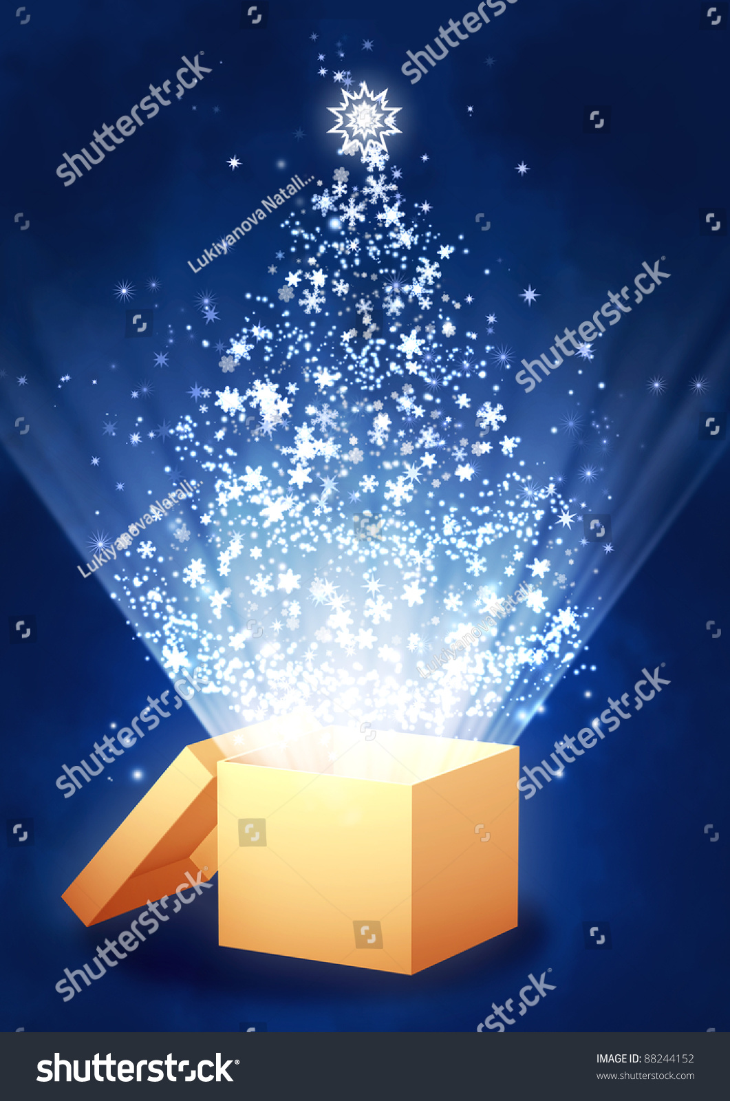 Christmas Gift Vertical Background Magic Box Stock Illustration