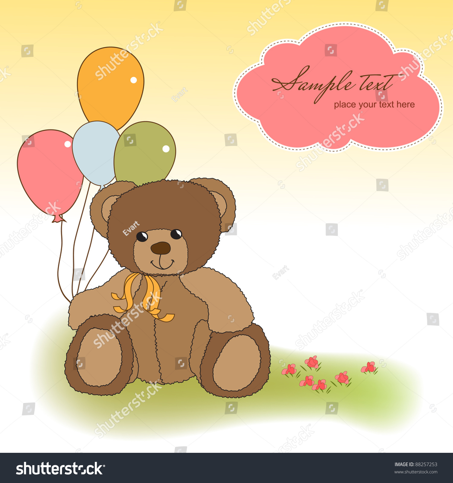 Customizable Greeting Card Teddy Bear Stock Vector Royalty Free