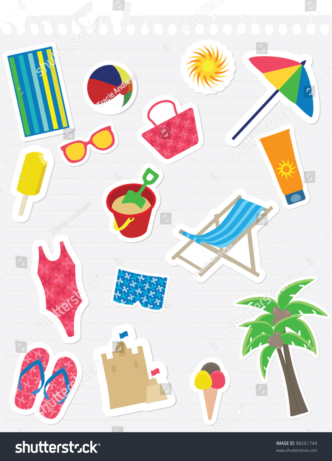 various summer theme stickers on lined note paper stock vector