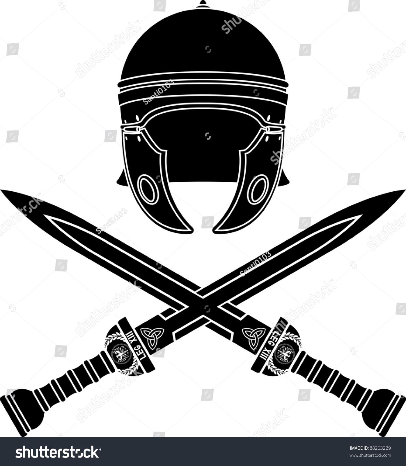 roman helmet swords second variant stencil stock vector 88263229