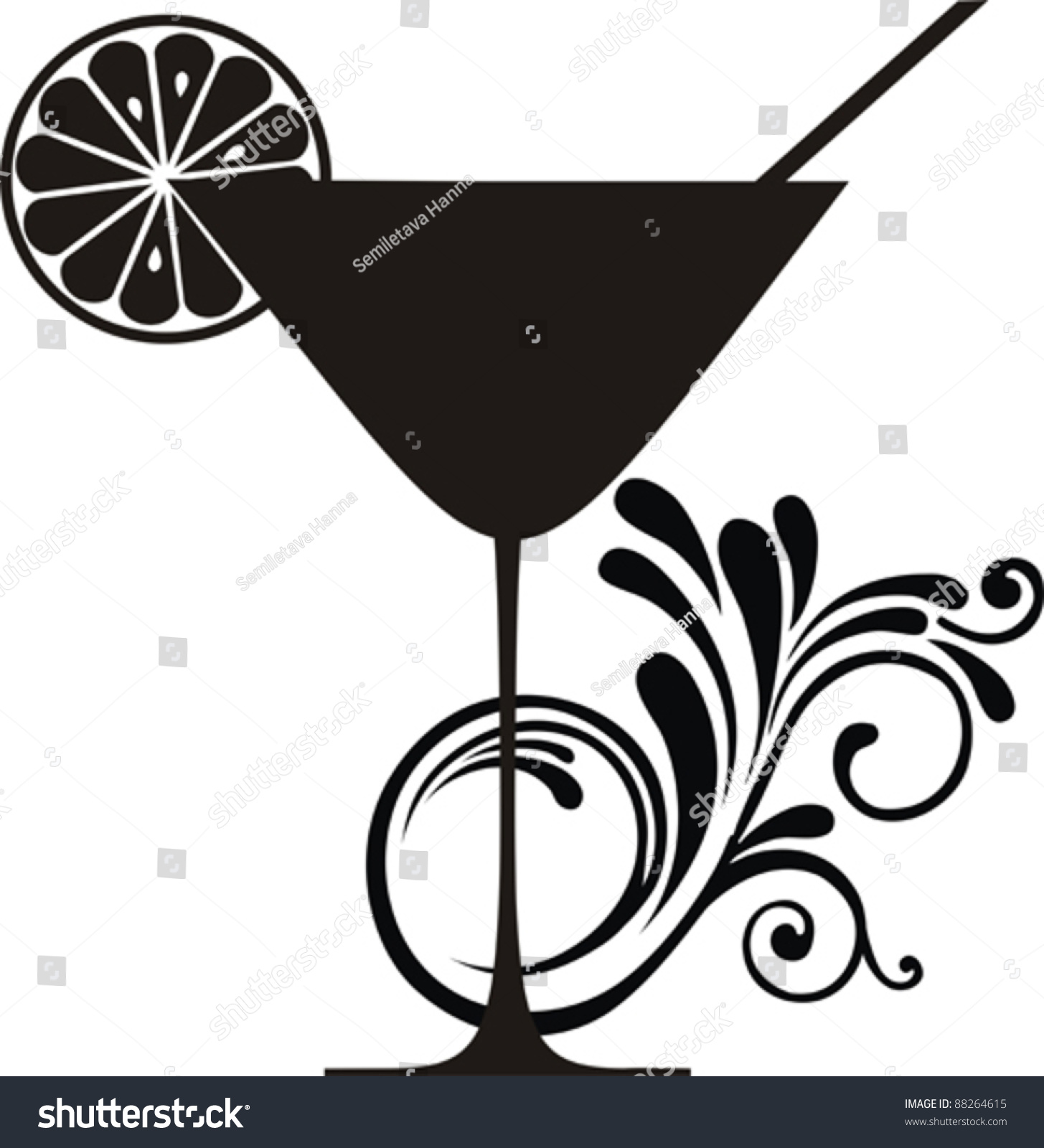 Cocktail Drink Silhouette Isolated On White Stock Vector