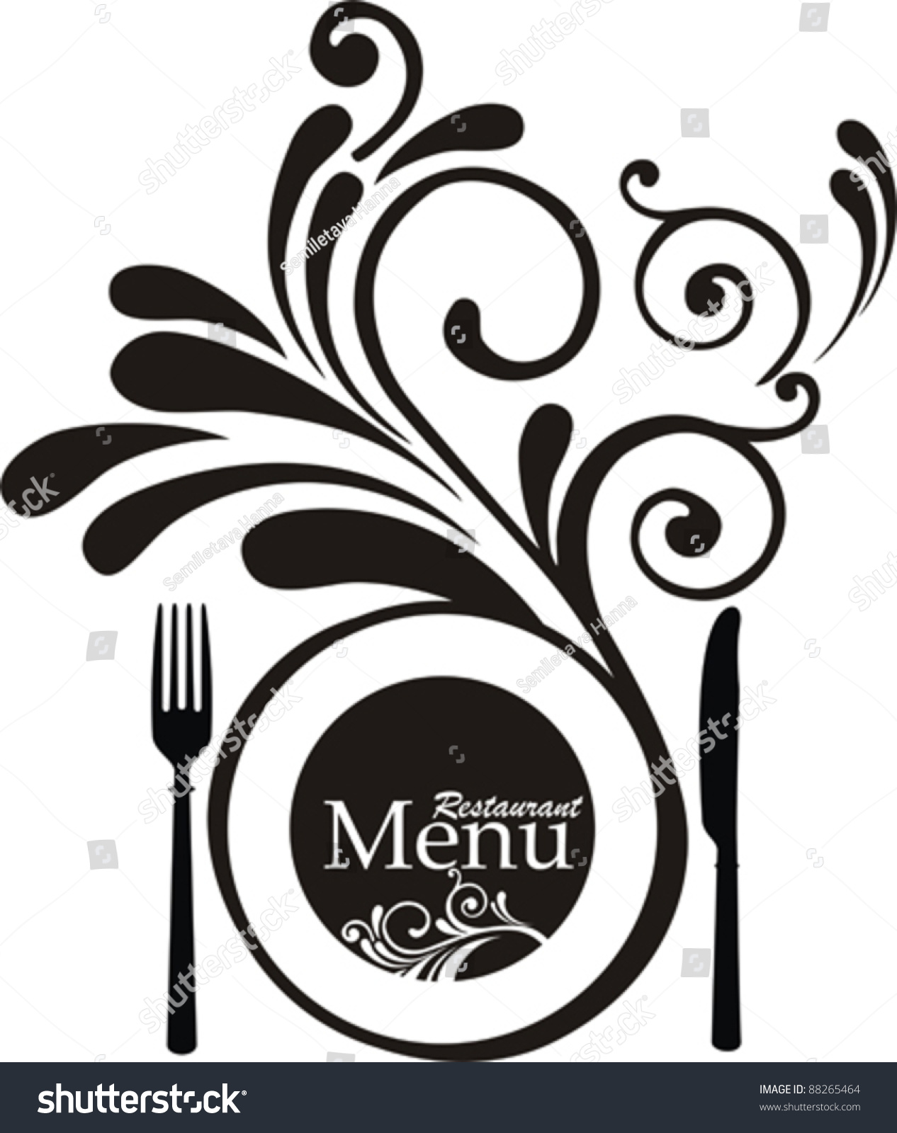 Vintage restaurant menu design elements isolated on white