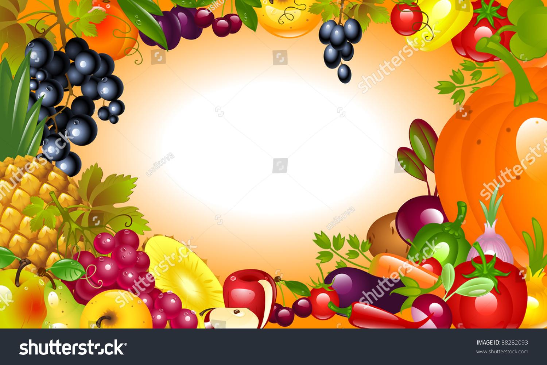 Invitation Thanksgiving Vegetable Fruit Background Stock ...