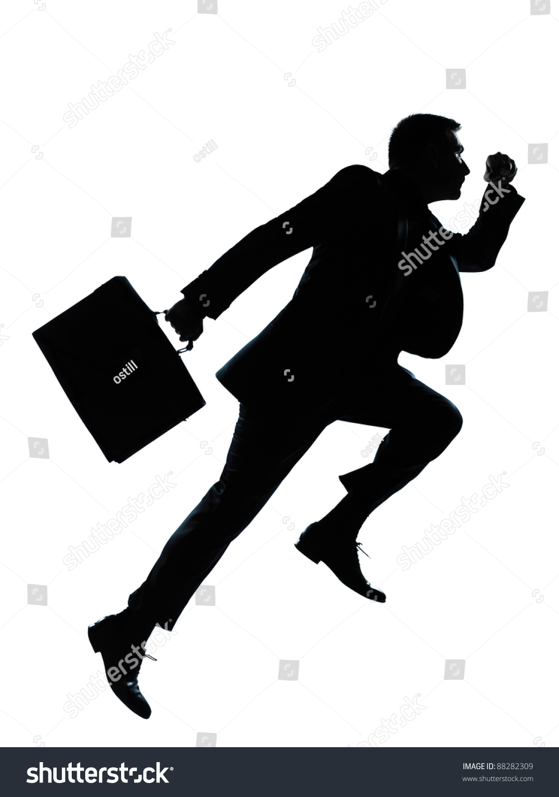 Running Man In Suit Silhouette One Caucasian Business...