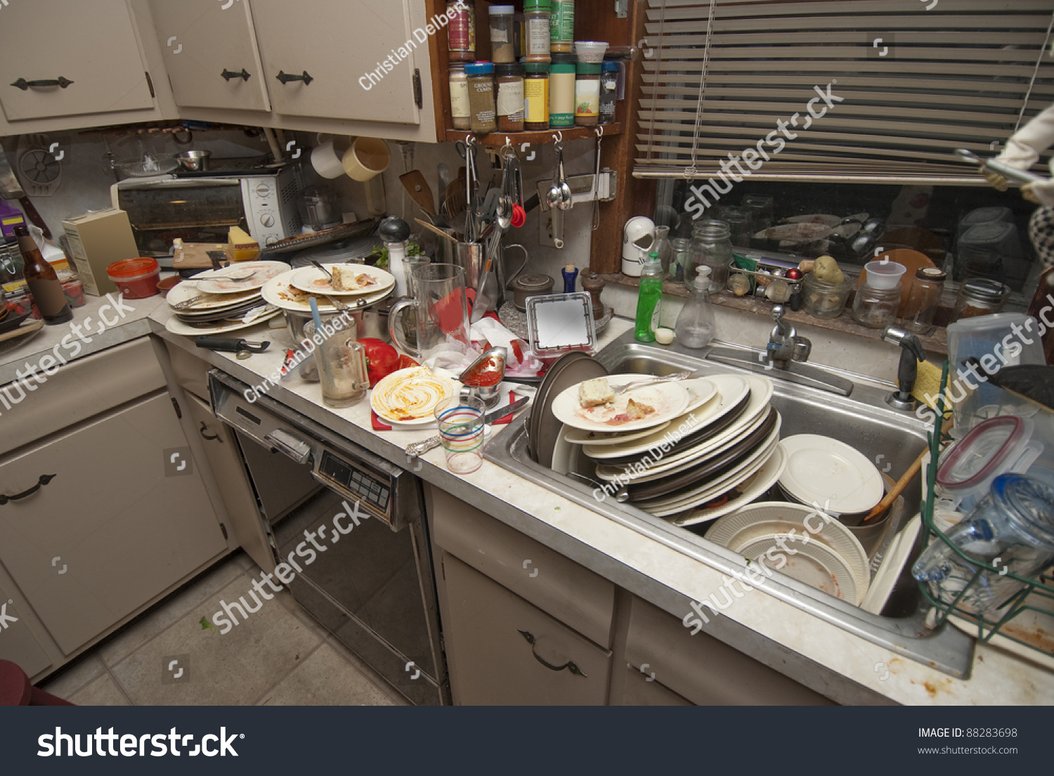 Pile Dirty Dishes Sink Counter Top Stock Photo 88283698