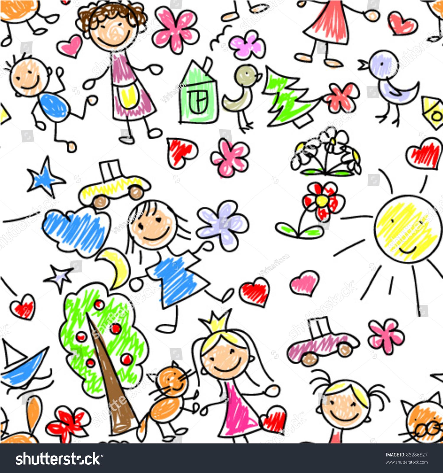 kids drawing seamless pattern stock vector 88286527 shutterstock