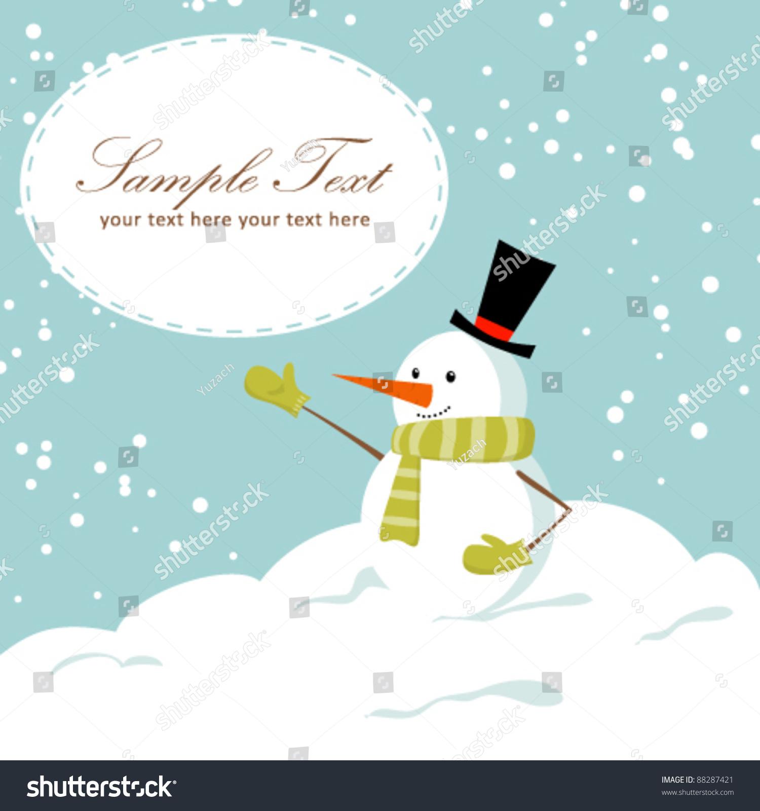 Cute cartoon snowman smiling on snow stock vector