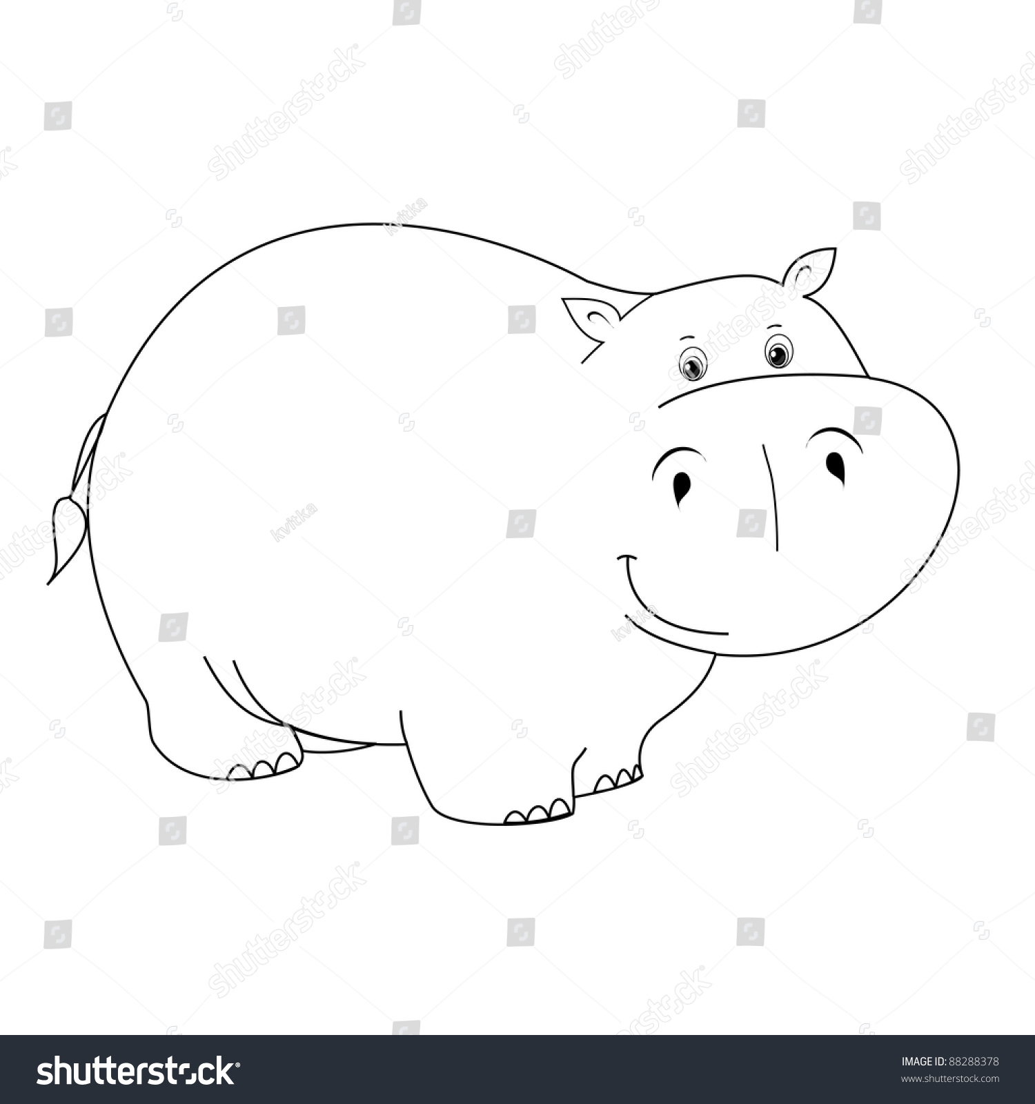 vector toy contour toy hippo coloring stock vector 88288378