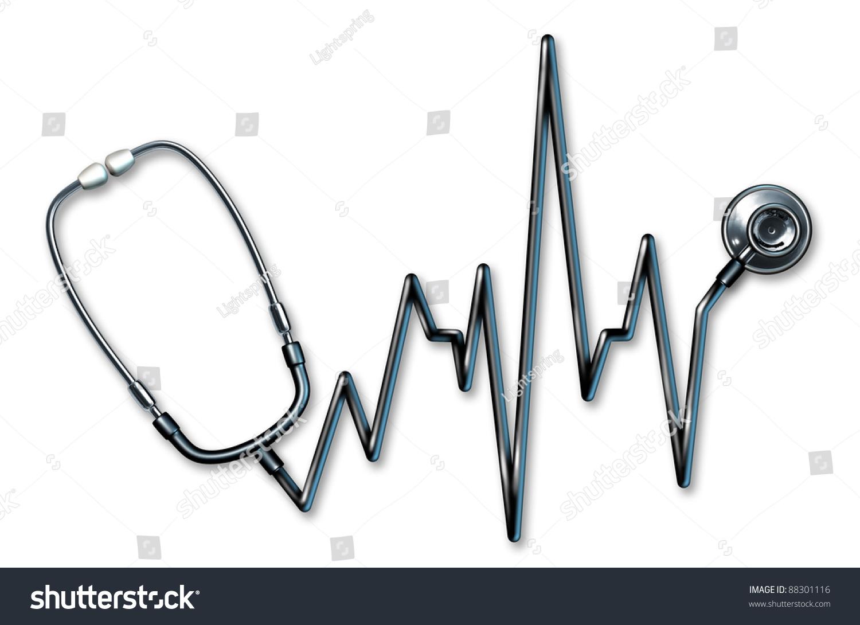 Stethoscope Ekg Healthcare Symbol Form Ecg Stock Illustration