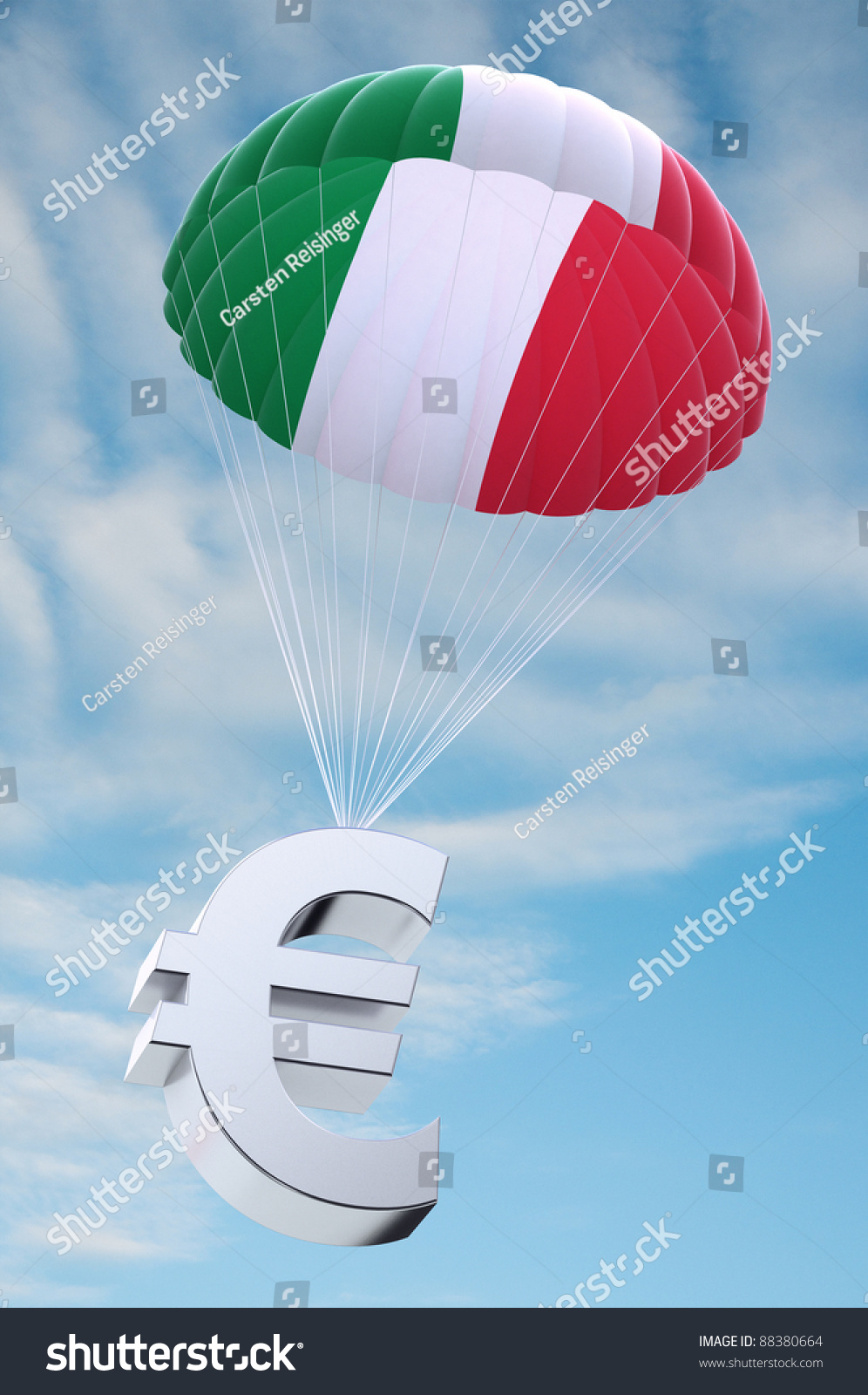 Parachute italian flag on holding euro stock illustration 88380664 parachute with the italian flag on it holding a euro currency symbol concept for security buycottarizona Choice Image