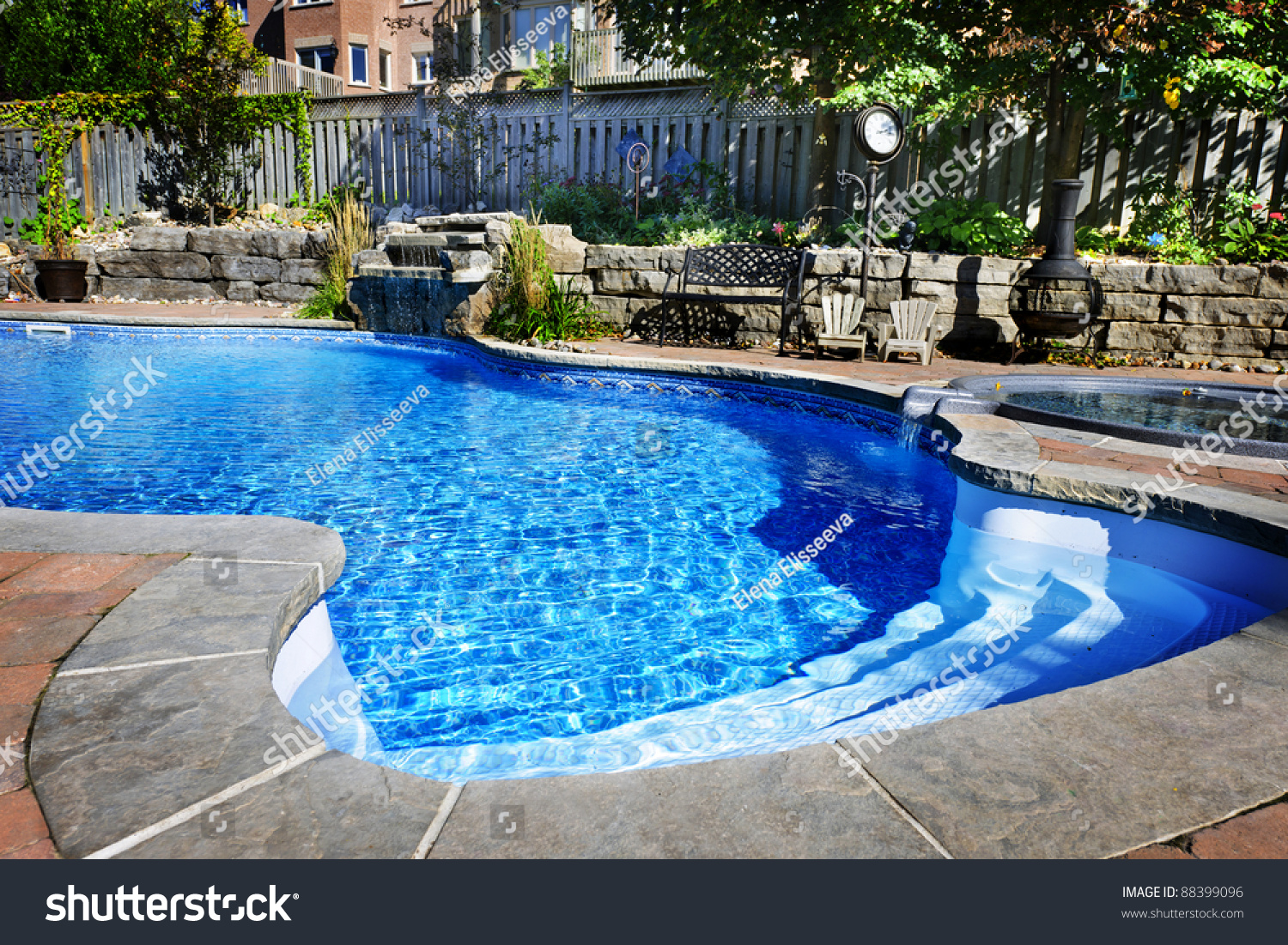 inground pools with waterfalls and hot tubs. Residential Inground Swimming Pool In Backyard With Waterfall And Hot Tub Pools Waterfalls Tubs