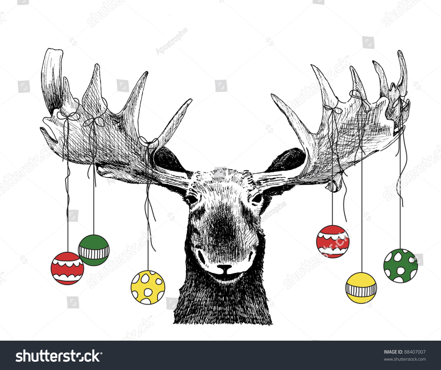 Royalty Free Funny Christmas Card Moose Design Of 88407007 Stock