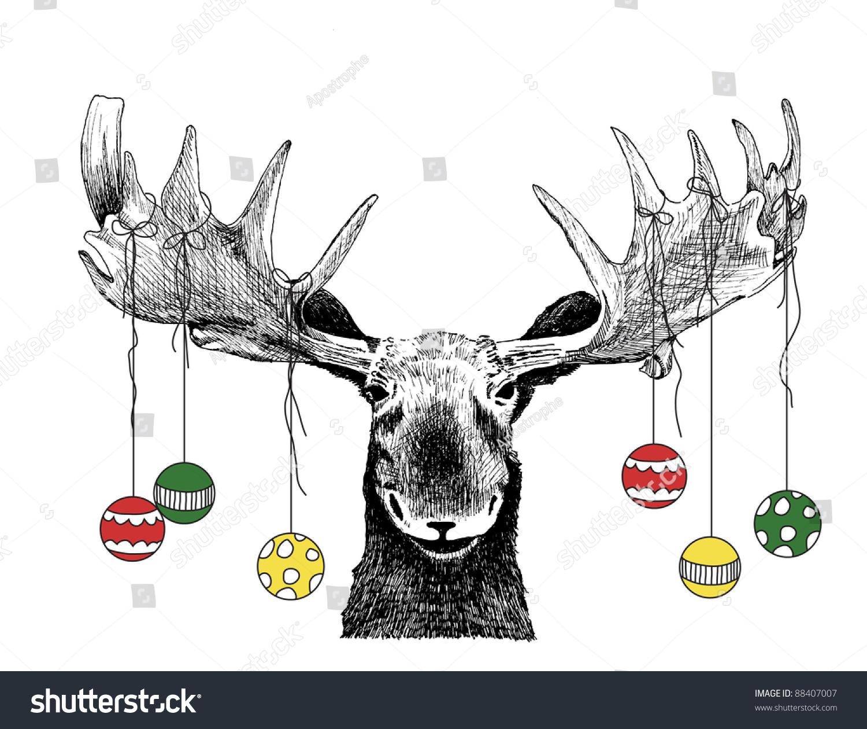 Funny Christmas Card Moose Design Of Stock Photo 88407007 Avopix Com