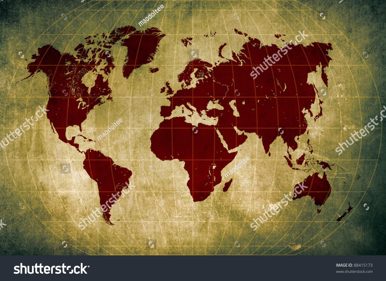 Grunge world map latitude longitude lines stock illustration grunge world map with latitude and longitude lines gumiabroncs Gallery