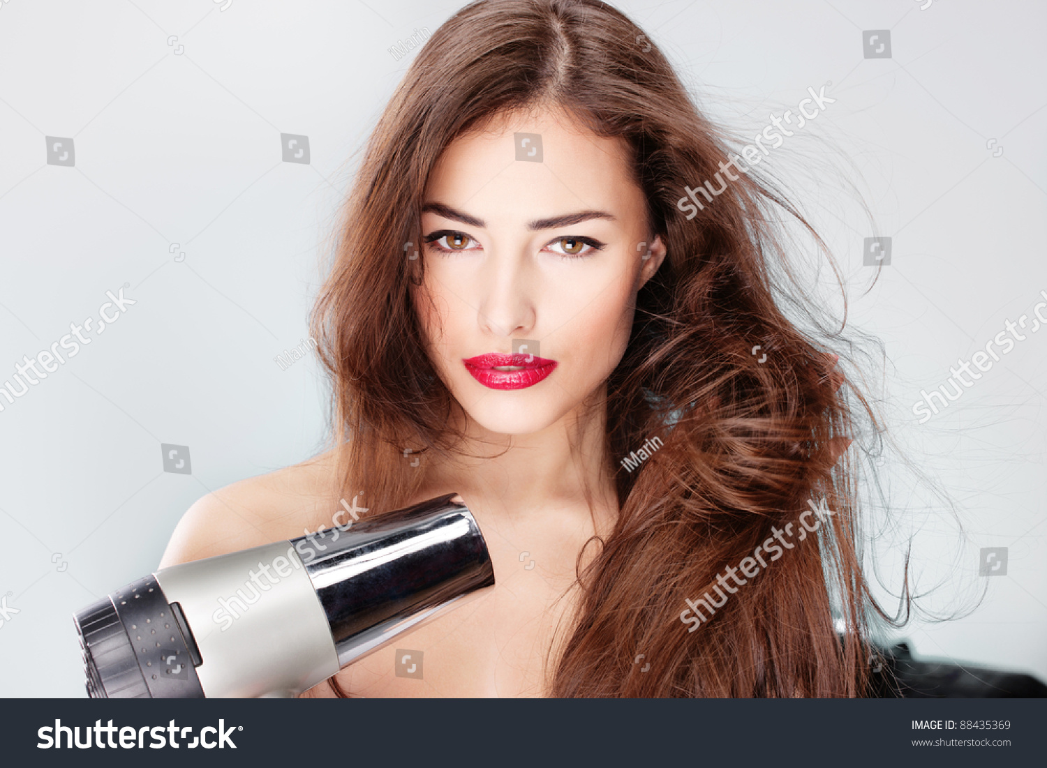 Woman Long Hair Holding Blow Dryer Stock Photo 88435369