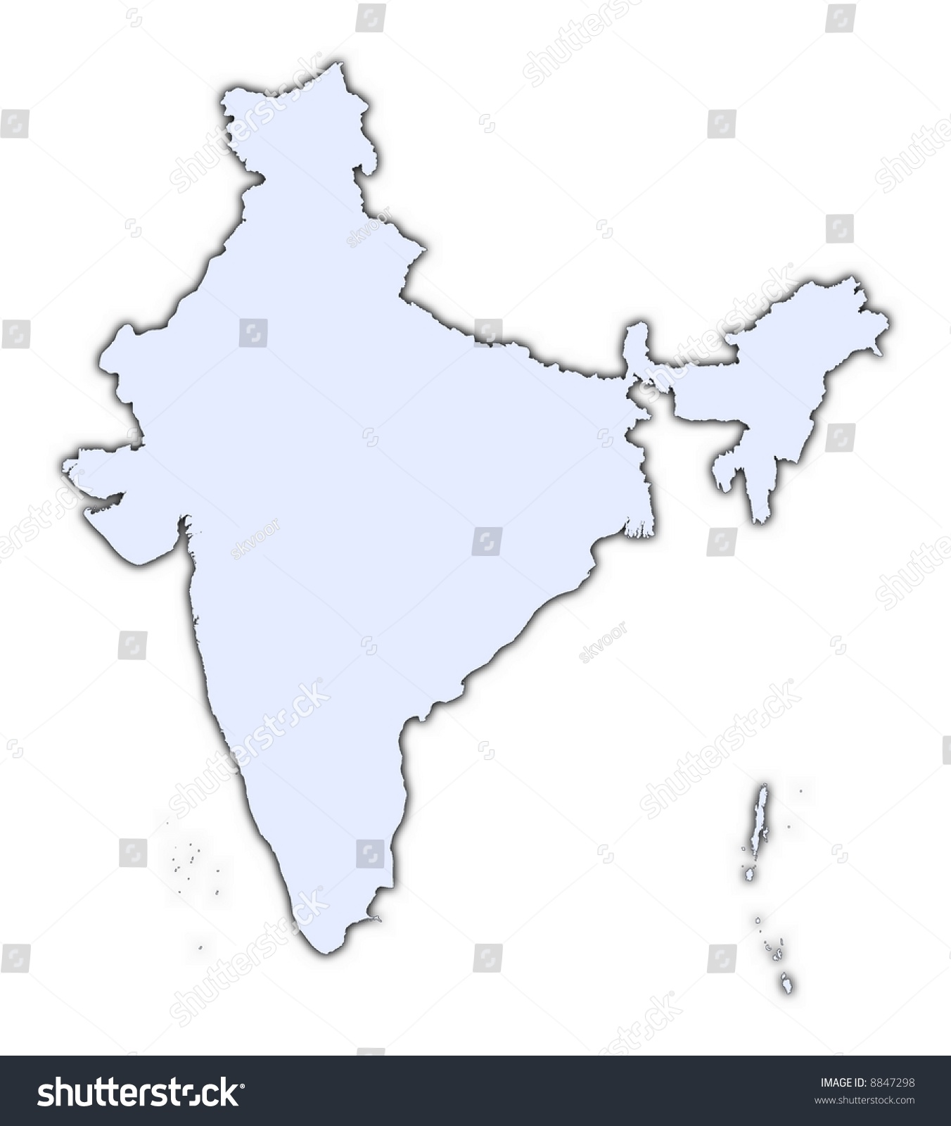 india light blue map shadow high stock illustration 8847298