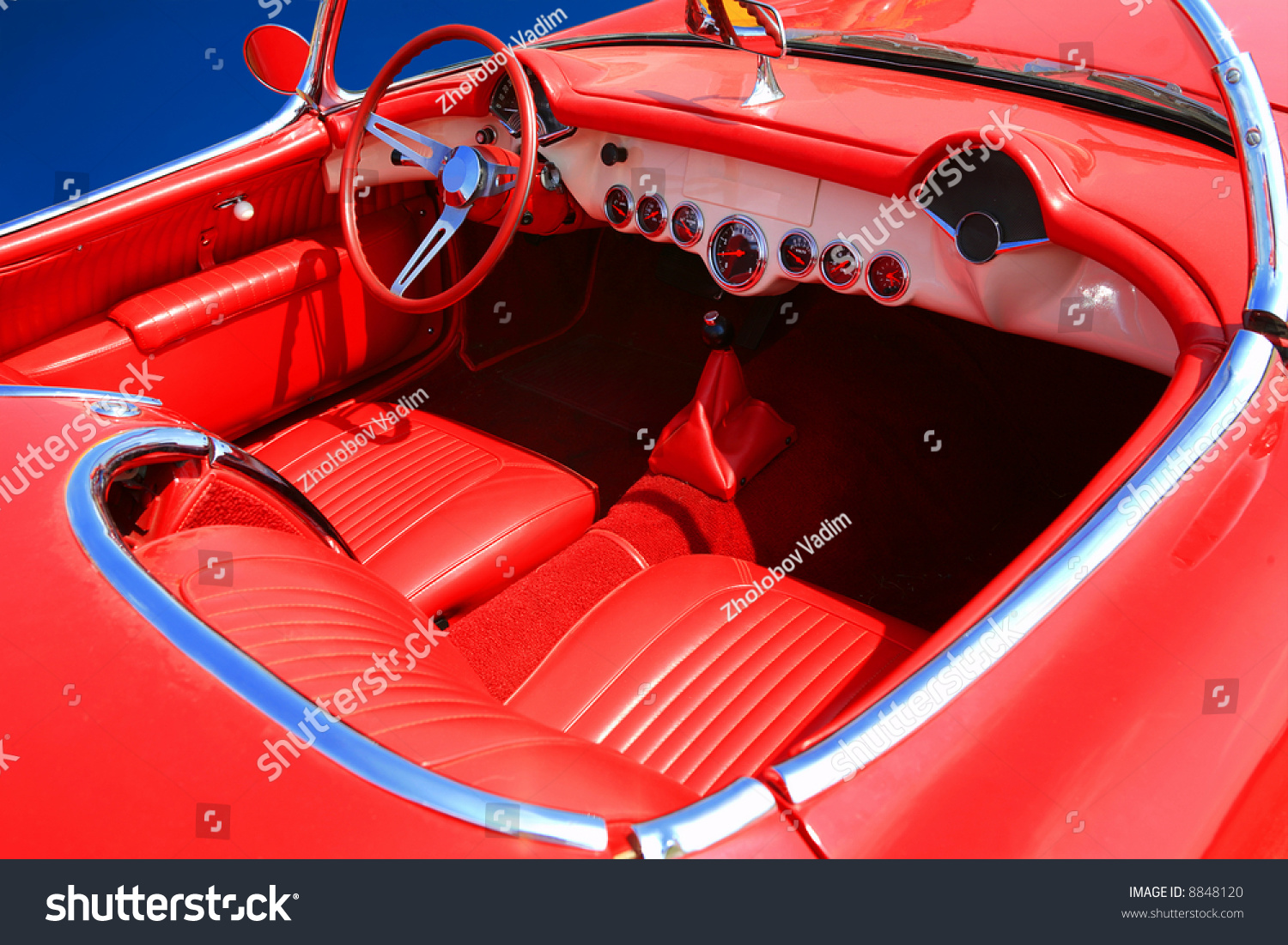 red retro interior of a vintage car stock photo 8848120 shutterstock. Black Bedroom Furniture Sets. Home Design Ideas