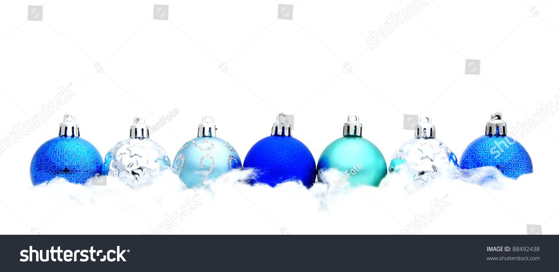 Blue Christmas Bauble Border Snow Over Stock Photo 88492438 ...
